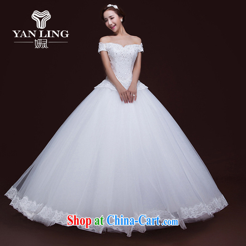 Her spirit fall 2015 winter new wedding dresses bridal lace Korean word erase shoulder chest beauty with wedding XXL