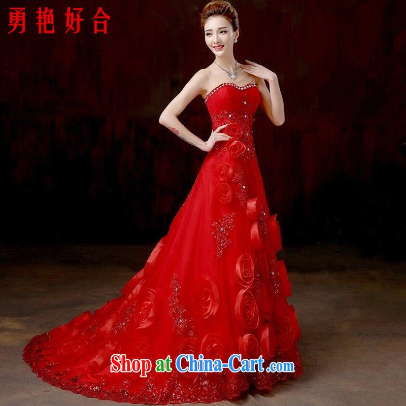 Yong-yan and 2015 new bridal wedding dresses and simple Red alignment to erase chest crowsfoot wedding video thin summer small-tail summer, Red. size is not returned.