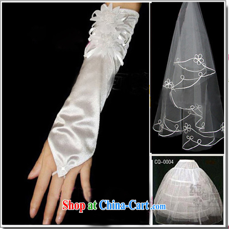Pure bamboo yarn love wedding dresses accessories and yarn gloves support skirt 3 piece Combination wedding and white