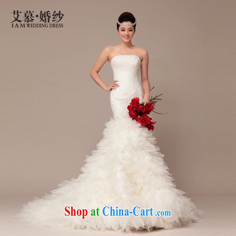 With the 2015 spring new wedding Princess lace Korean small white tail erase chest graphics thin crowsfoot women wedding dresses feather stabbed ivory L