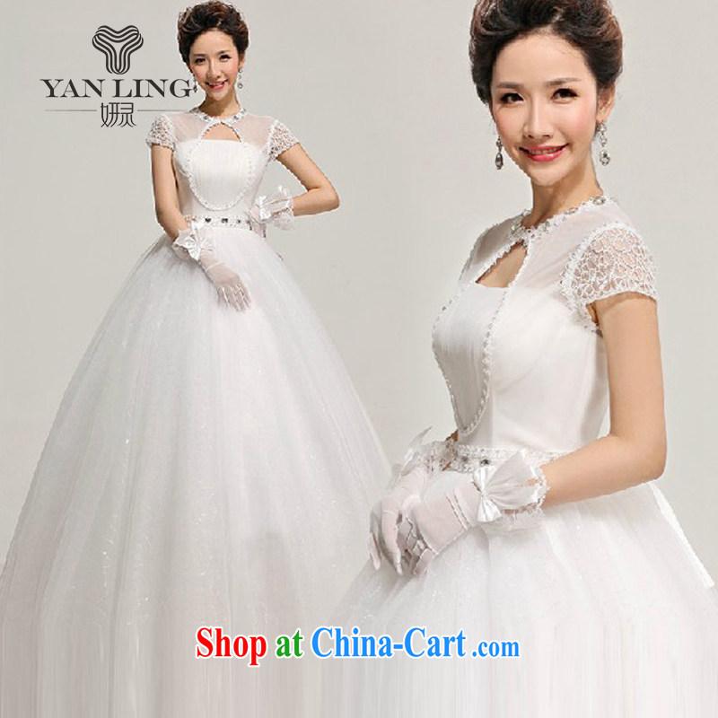 Her spirit 2015 new spring and summer wedding dresses short sleeve mesh package shoulder shaggy with a shoulder wedding HS L 312