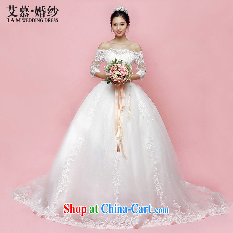 On the wedding dresses summer 2015 new spirit Creek Korean lace long-tail field shoulder wedding beauty with M