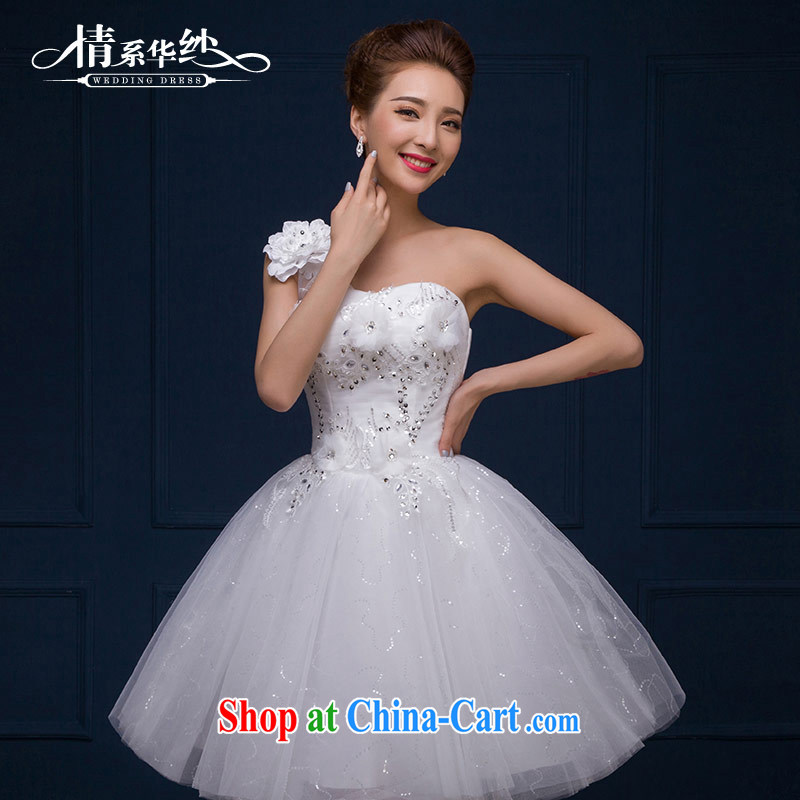 The china yarn 2015 new marriages wedding dresses dress short stylish small dress spring and summer female white XXL