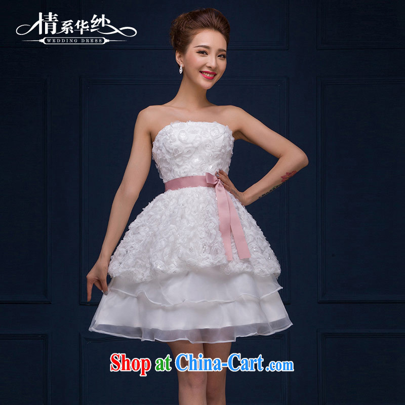 The china yarn 2015 new marriages, short wedding dresses and stylish wiped his chest flowers dresses small dress spring and summer female white. size does not accept return