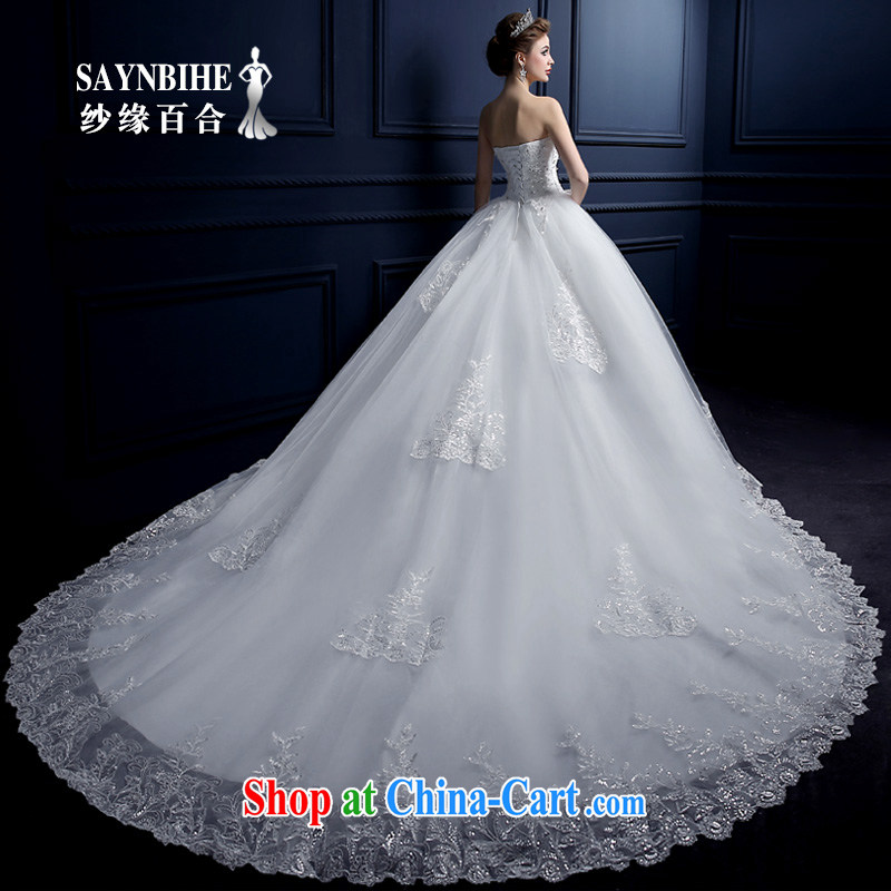 wedding dresses 2015 new summer sweet bare chest wedding fashion the tail wedding bridal wedding lace straps wedding Korean parquet drill wedding purely manual sewing white tail L