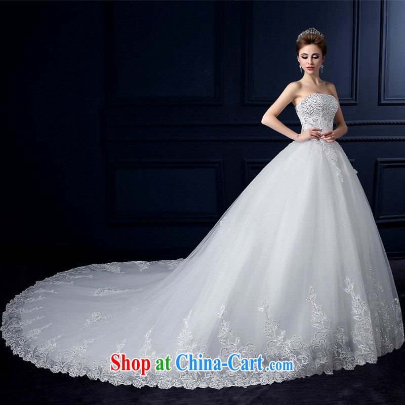 wedding dresses 2015 new summer sweet bare chest wedding fashion the tail wedding bridal wedding lace straps wedding Korean parquet drill wedding hand sewing white tail L yarn edge 100, and shopping on the Internet
