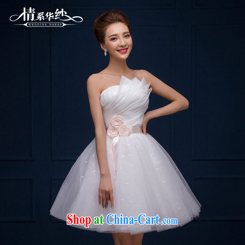 The china yarn 2015 new marriage short wedding Korean sweet Mary Magdalene chest manually take video thin binding with a small dress spring and summer female white XXL