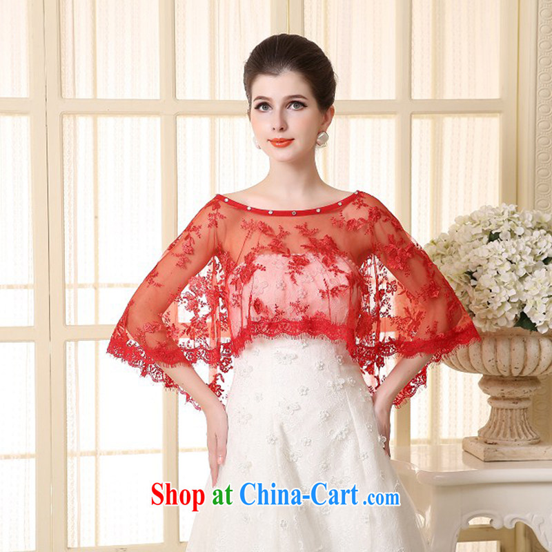 2015 new bridal wedding dresses shawls Europe bridesmaid wedding thin shawl lace summer red female Red