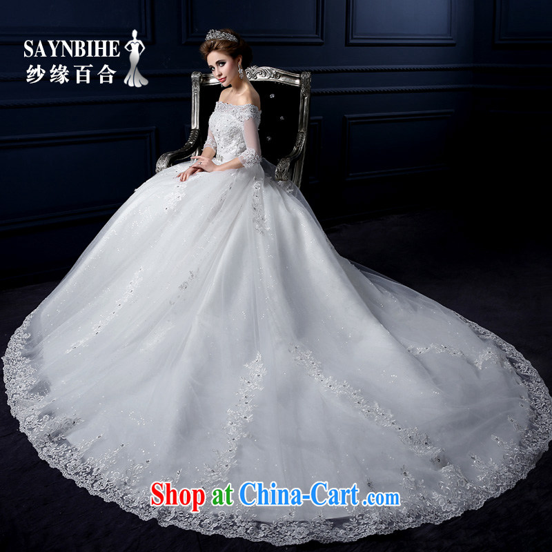 Yarn edge 100, wedding dresses 2015 new summer a shoulder-tail wedding bridal wedding lace with wedding band erase chest graphics thin-tail wedding free postage-white tailor advanced customization