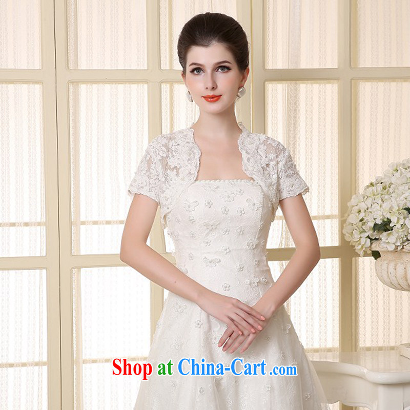 2015 new white Korean lace bridal wedding double-shoulder lace shawl small jacket wedding shawl cloak white