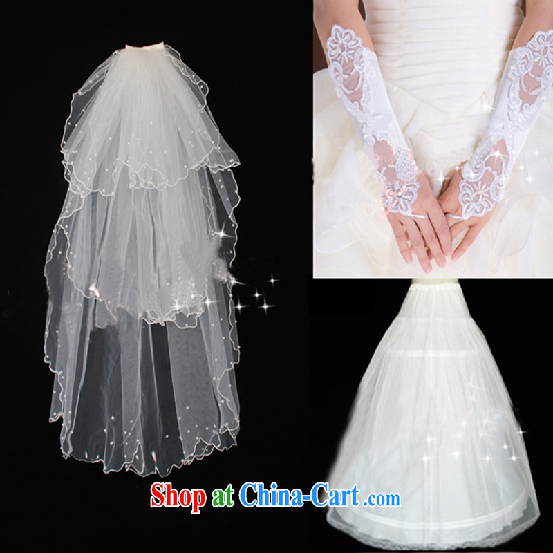 Pure bamboo yarn love wedding accessories 3 piece white head yarn gloves support skirt wedding 100 with ornaments wedding mandatory jewelry white