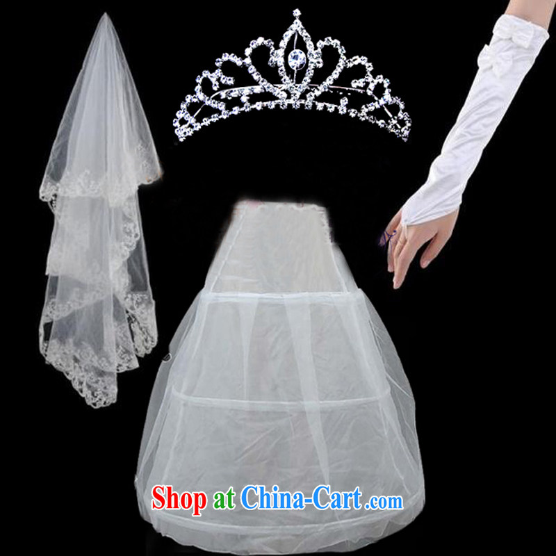 Pure bamboo love yarn 3 Piece Combination white head yarn gloves support skirt Crown wedding accessories ST 002 white
