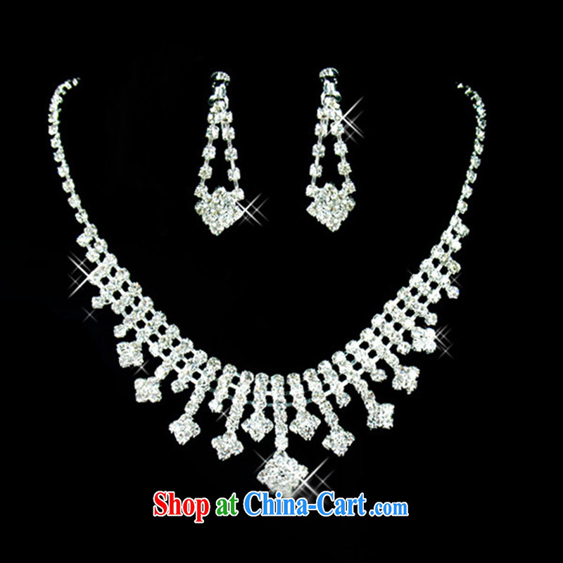 Bridal jewelry wedding jewelry Crown earrings 3-piece kit wedding accessories bridal film floor Jewelry Korean-style white