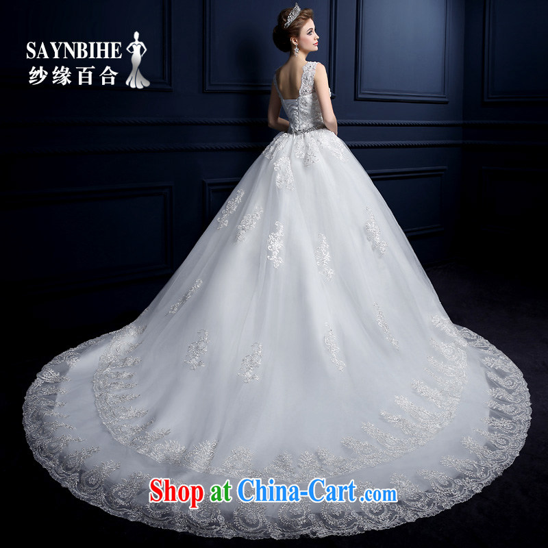 wedding dresses 2015 New Field shoulder wedding drag and drop the shoulders with wedding band lace sweet big-tail wedding wiped his chest and shoulder package wedding canopy skirts white tailor advanced customization