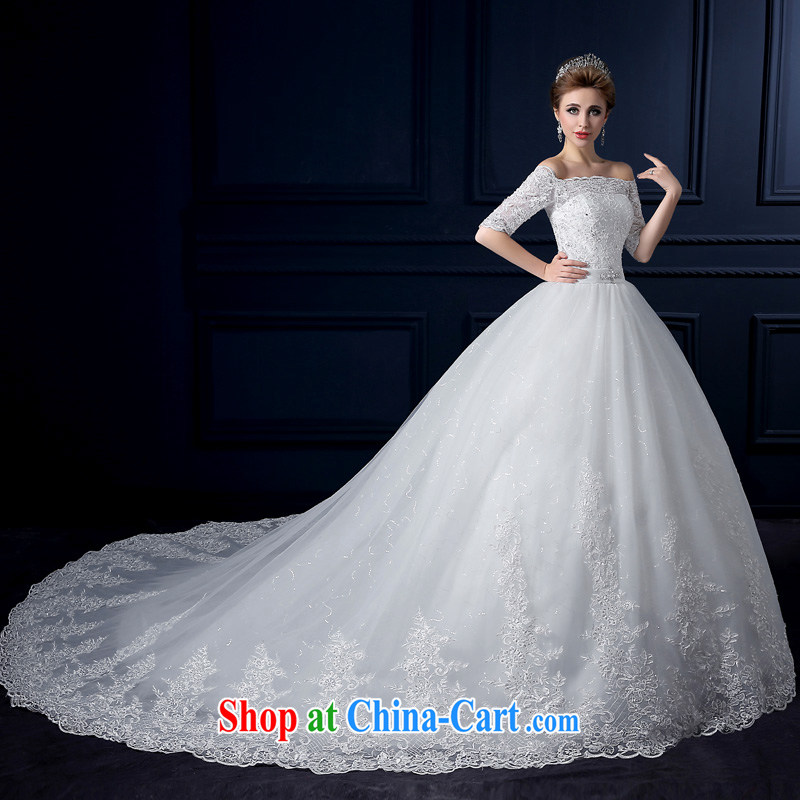 Yarn edge 100 and 2015 new summer the Field shoulder-tail wedding with bare chest wedding Korean-style luxury the cuff tail Wedding Video thin lace bridal wedding canopy skirts white tailor advanced customization