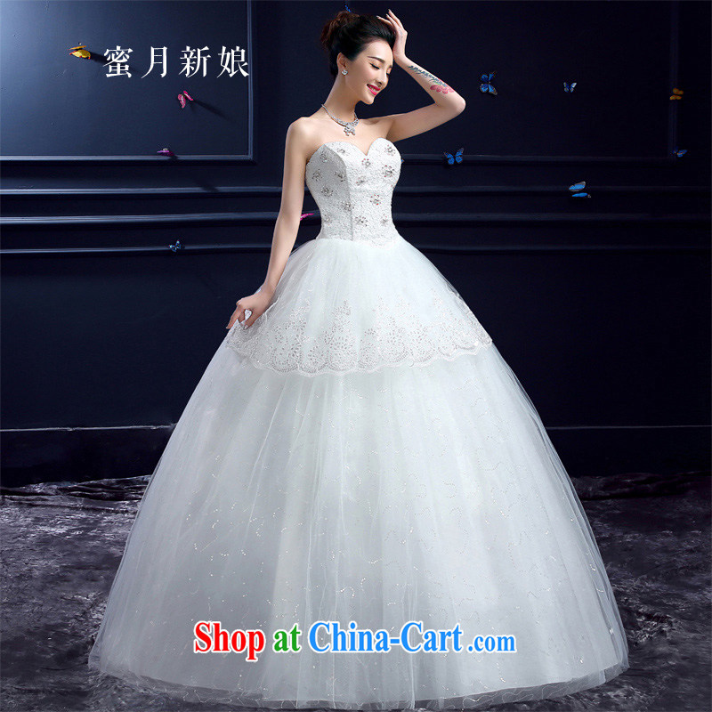Honeymoon new summer 2015 new wedding dresses Korean bridal graphics thin beauty with parquet drill erase chest lace wedding white XXL