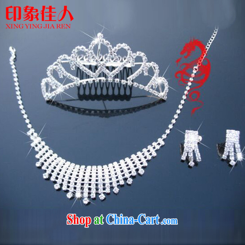 Leigh impression bridal jewelry and ornaments 3-piece kit wedding accessories Korean marriage crystal diamond necklace earrings hair accessories Crown YX 3017