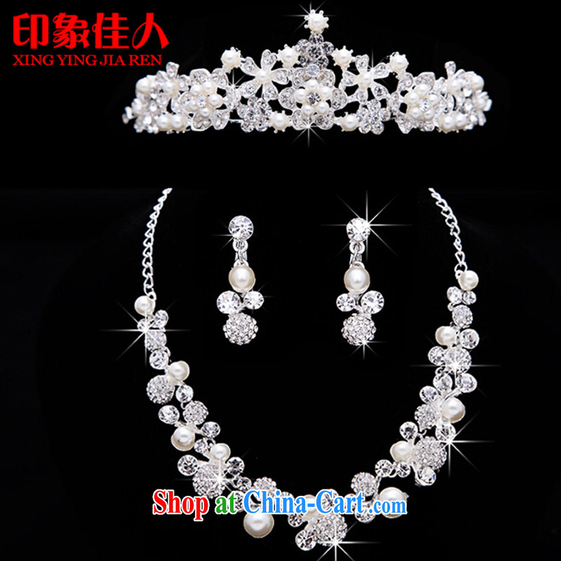 Leigh impression bridal headdress Crown necklace ear ornaments 3-piece with Korean-style wedding hair accessories earrings wedding with ornaments YX 3019