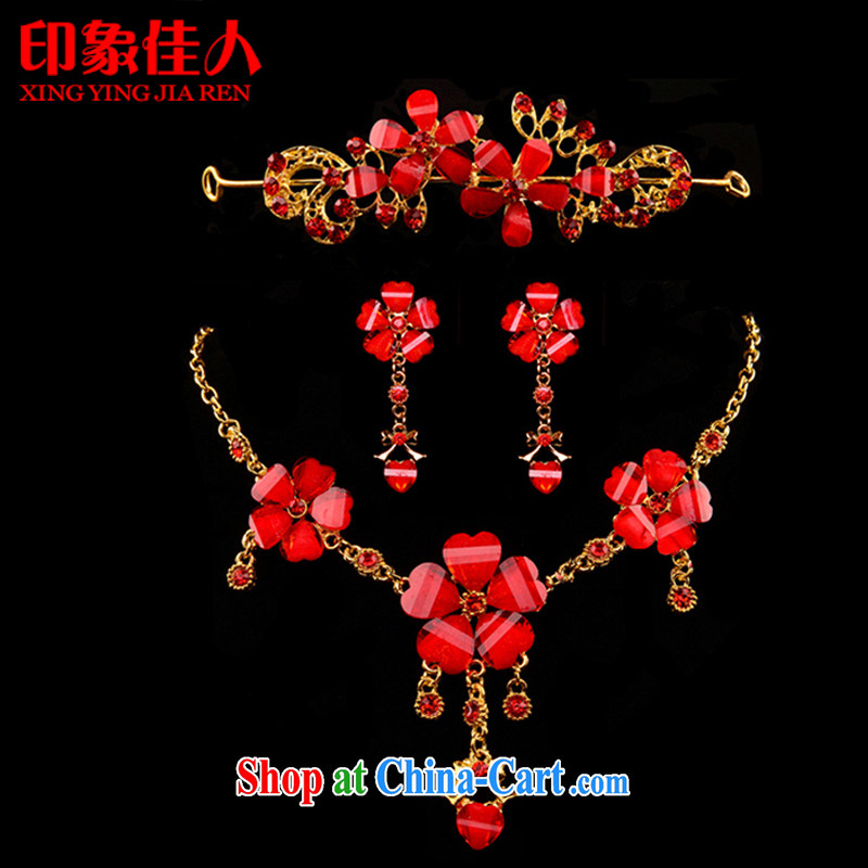 Impressive lady red bridal jewelry Korean-style wedding jewelry earrings Crown head-dress 3 piece dress jewelry wedding dresses with jewelry YX 3007