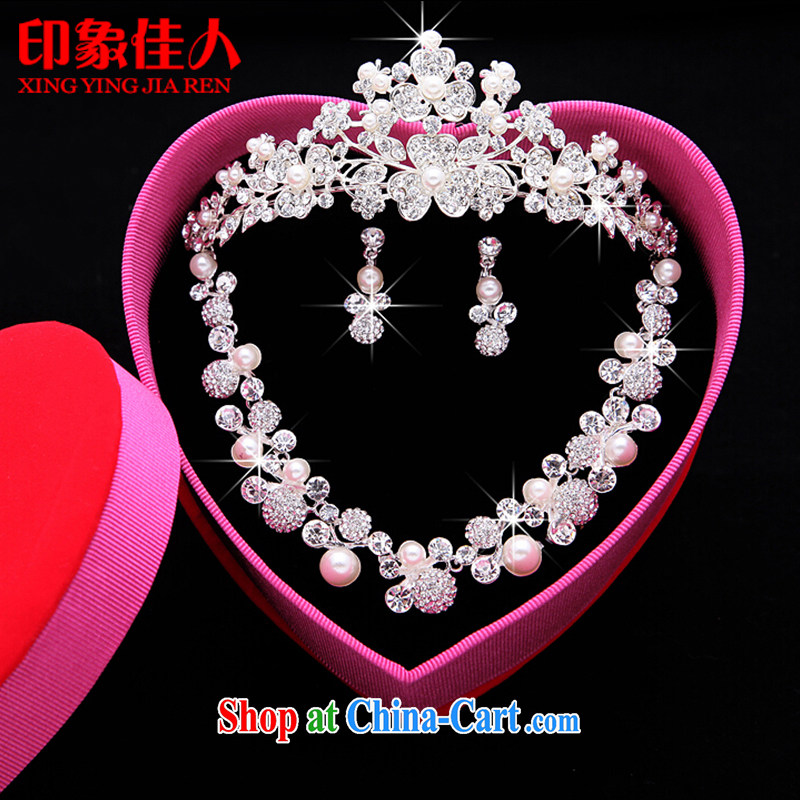 Leigh impression bridal jewelry and ornaments 3-piece kit wedding accessories Korean marriage crystal diamond necklace earrings hair accessories large crown YX 3011