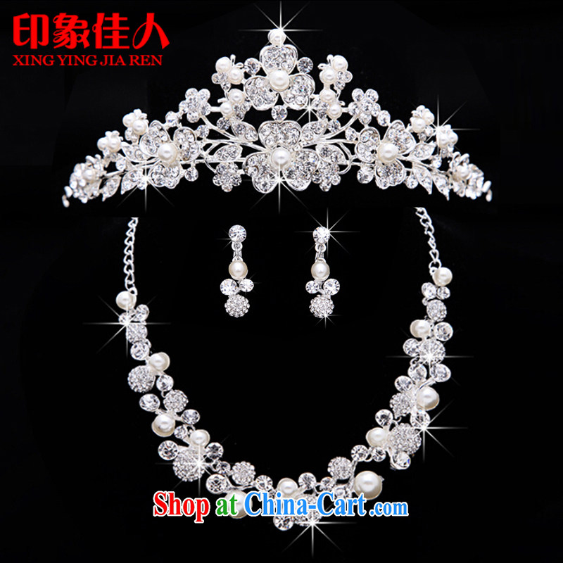 Leigh impression bridal jewelry and ornaments 3-piece kit wedding accessories Korean marriage crystal diamond necklace earrings hair accessories large crown YX 3011, impressive lady, shopping on the Internet