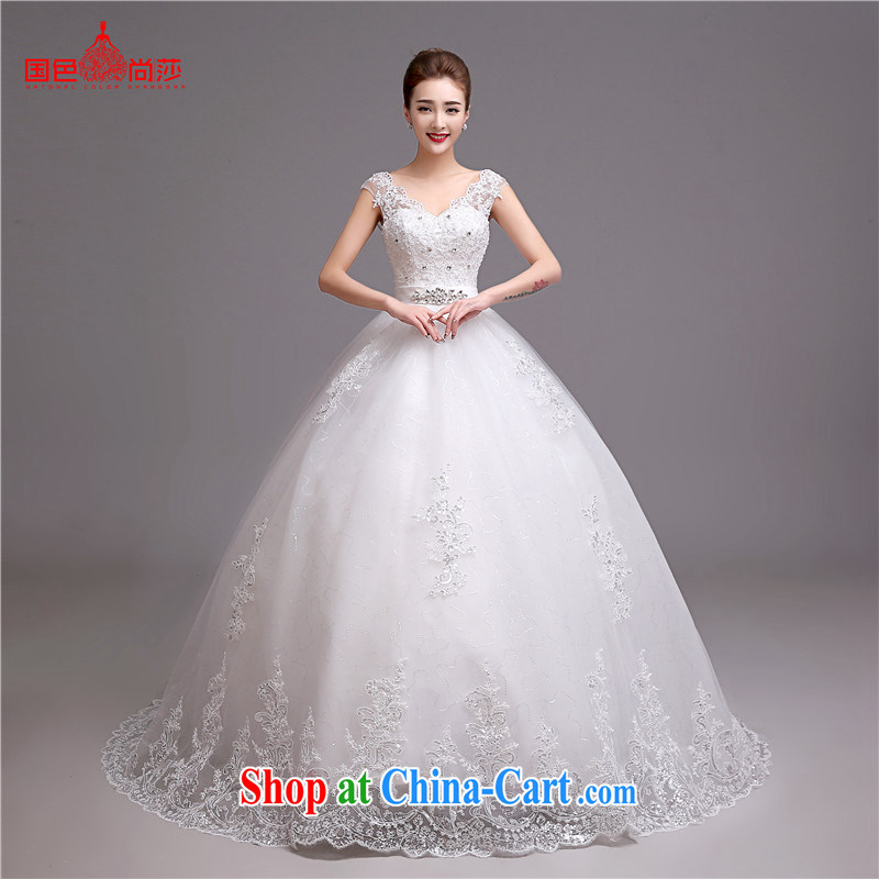 wedding dresses 2015 new summer Korean-style V-neck a Field shoulder long-tail bridal Wedding Fashion video thin wedding white with customizable is not to return the OH