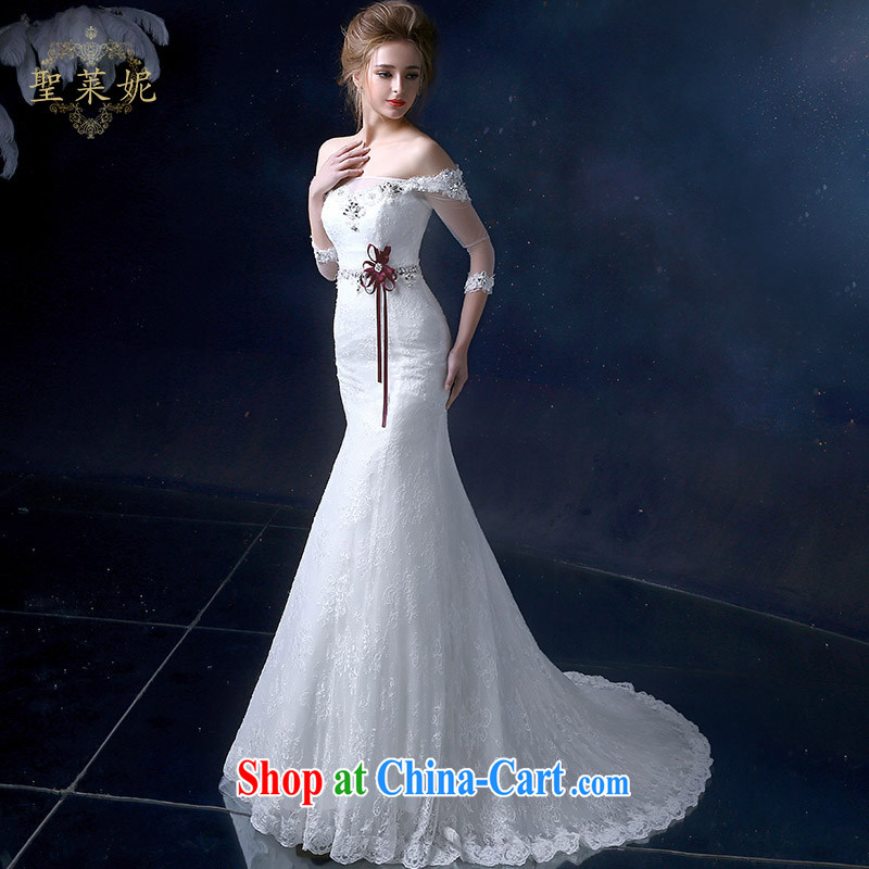 Holy, Connie wedding dresses continental field shoulder lace crowsfoot Wedding Video thin, stylish wedding dress the code small tail white M
