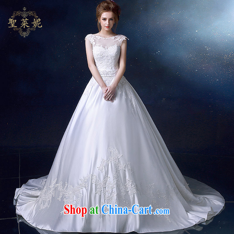 Holy, Connie wedding dresses 2015 summer white satin, double-shoulder wedding dresses continental A Field skirt marriages, trailing white S