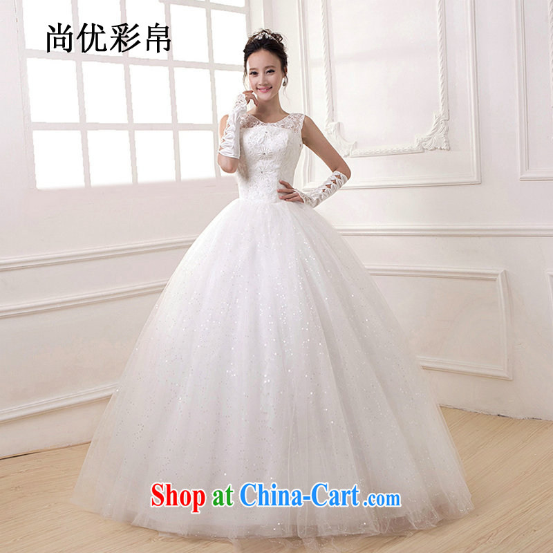 It is also optimized their wedding dresses 2015 new Korean fashion bridal Wedding Video thin Openwork with cultivating a strap, DM 4102 white XL