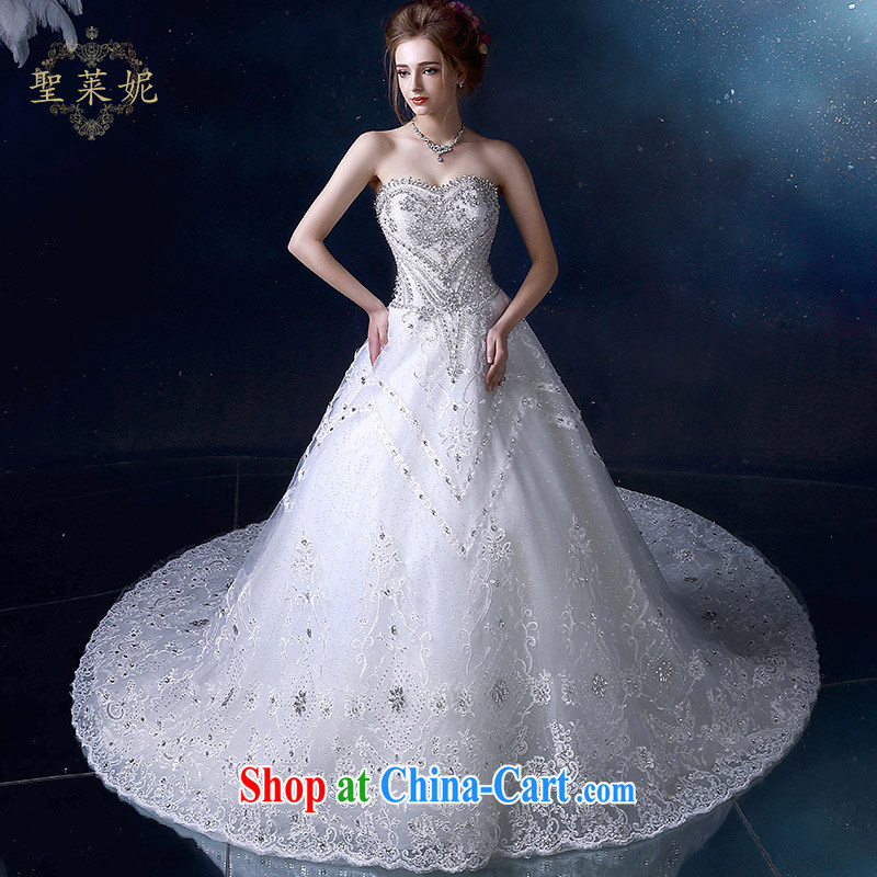 Holy, Connie wedding dresses 2015 summer water drilling erase chest A field dress, white graphics thin large number tail wedding dresses white M