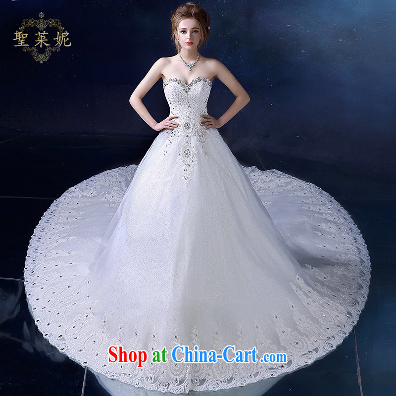 Holy, Connie wedding dresses summer 2015 new continental Palace water drilling erase chest female, white with long-tail wedding dresses white S