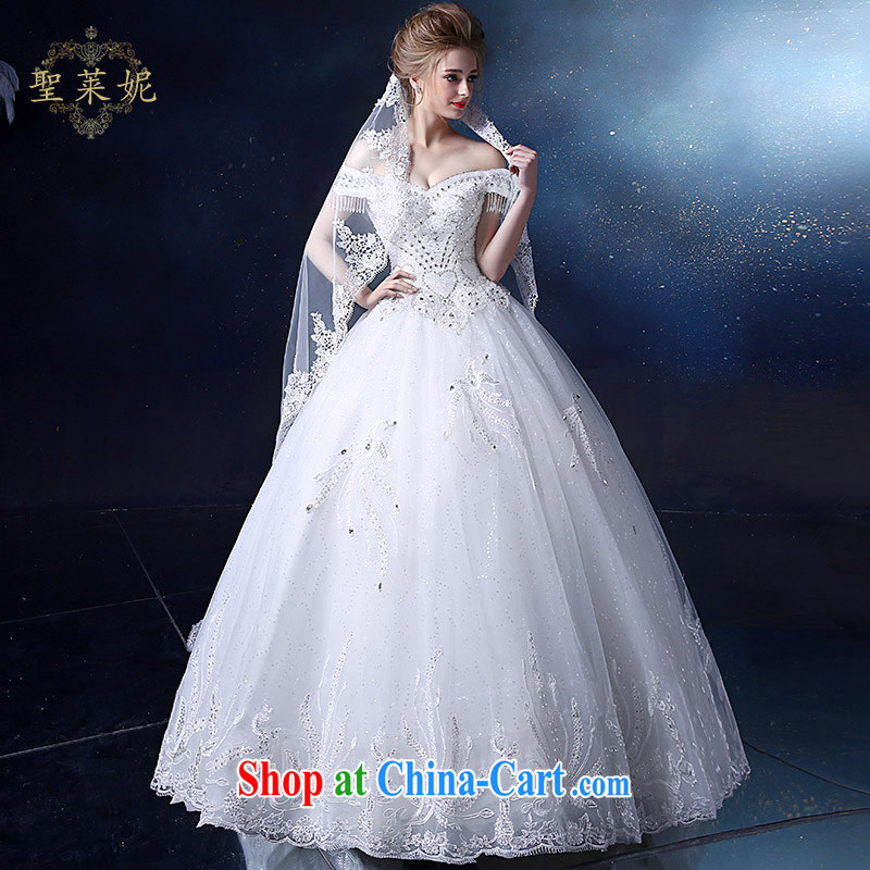 Holy, Connie wedding dresses 2015 new large, white water drilling field shoulder with marriage Ms. Korean sweet wedding dresses white M