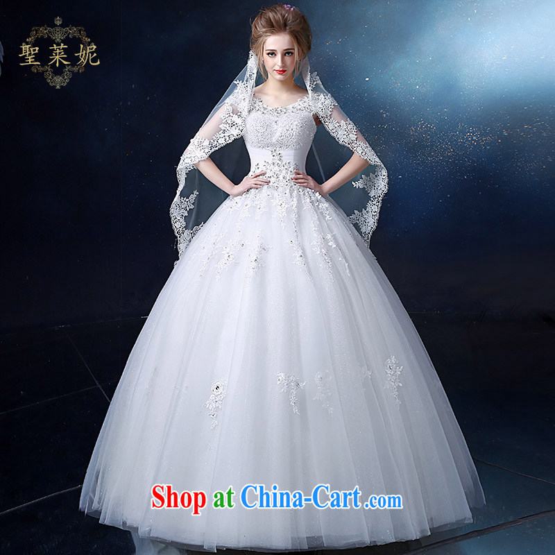 Holy, Connie wedding dresses 2015 new dual-shoulder bag shoulder wedding dresses lace round-collar high-end alignment to bind with the Code women Korean-style custom dress white M