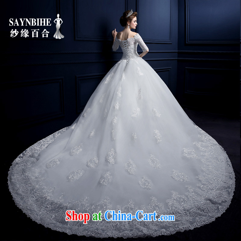 Yarn edge 100, wedding dresses 2015 new spring and summer a shoulder-tail wedding Korean lace strap Wedding Fashion bridal wiped his chest, wedding video thin trailing white tailor advanced customization