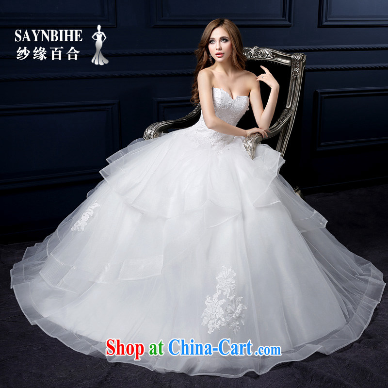 Yarn edge 100, wedding dresses 2015 spring and summer new erase chest shaggy dress sweet lace straps with wedding pregnant bride the code can be customized tail wedding white XXL