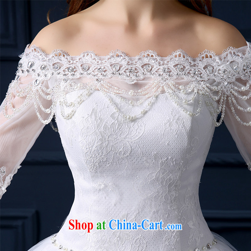 Yarn edge 100, wedding dresses 2015 new spring and summer Korean lace a shoulder with wedding bridal marriage shaggy dress beauty graphics thin smears chest tail wedding white tailor advanced customization, yarn edge 100, and, on-line shopping