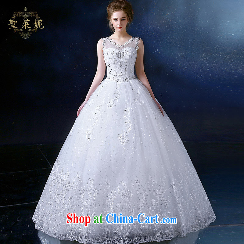 Holy, Connie wedding dresses 2015 new Korean sweet high-waist high, stylish lace shoulders, Ms. White Graphics thin wedding white M