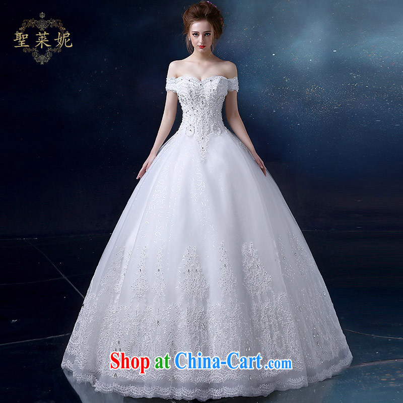 Holy, Connie wedding dresses brides field shoulder wedding dresses 2015 new water drilling lace married the code with Princess dress shaggy dress dress white S