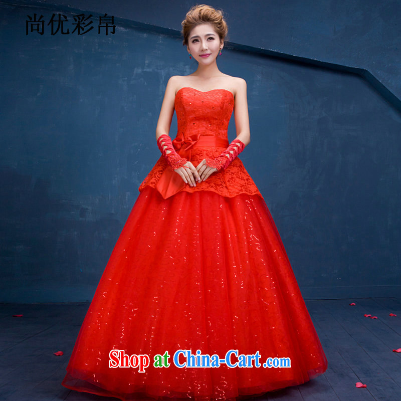 It is also optimized their swords into plowshares and stylish wiped his chest to bind marriage with high waist bridal wedding Korean-style graphics thin wedding dresses red DM 3106 red S