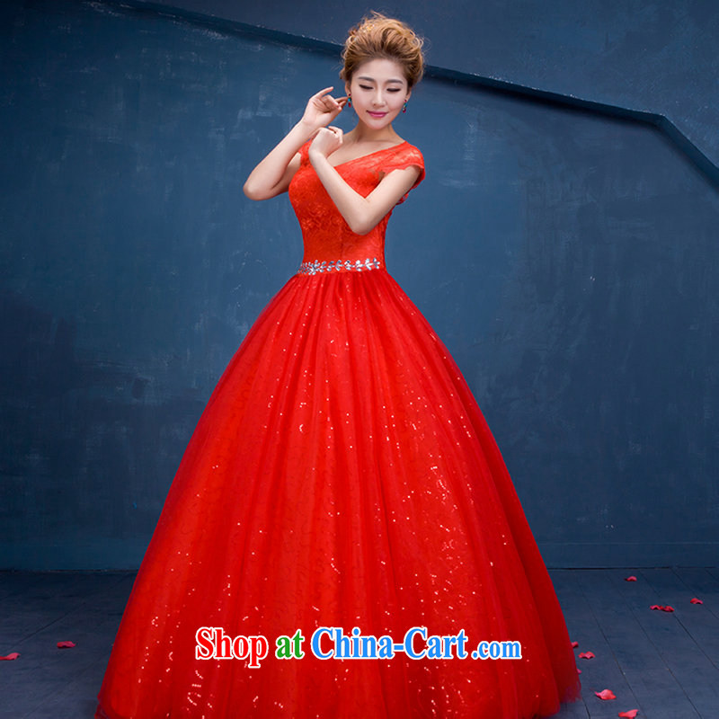 It is also optimized condolence New China wind wedding red lace bridal wedding wedding sweet Princess shoulders Openwork wedding-waist DM 3111 red L