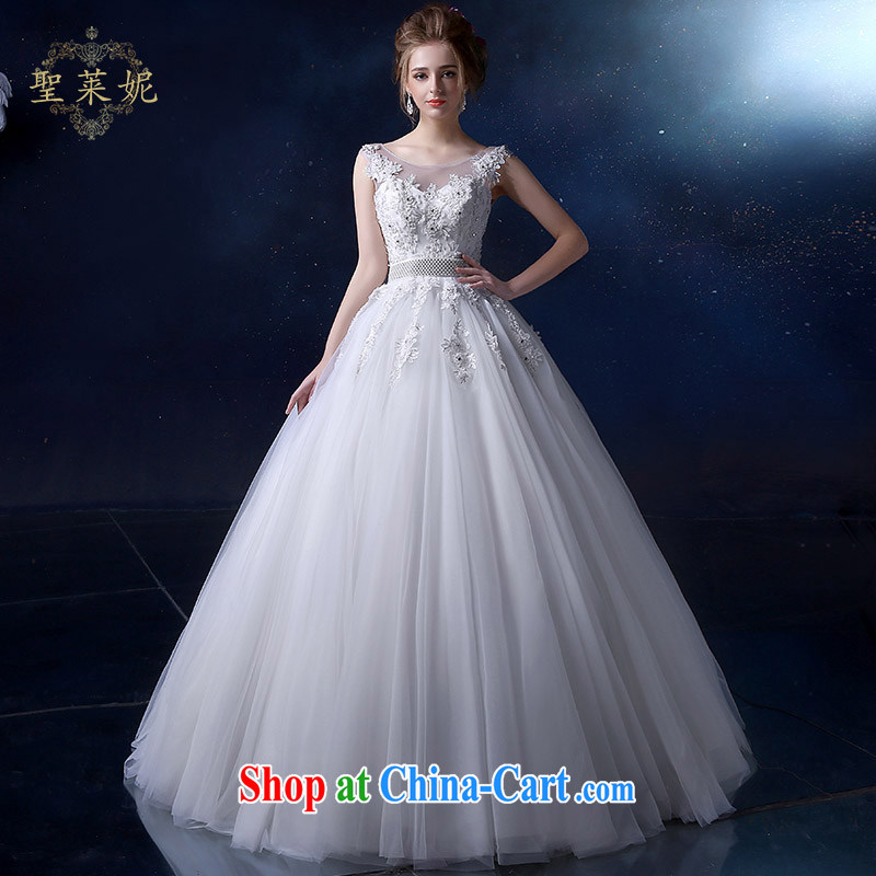 Holy, Connie wedding dresses with bridal suite 2015 spring and summer new, Korean-style embroidery bridal white larger shoulders graphics thin wedding dress white M