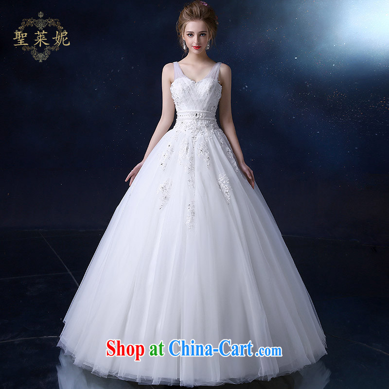 Holy, Connie wedding dresses 2015 new, larger double-shoulder high waist graphics thin, Korean marriage wedding dresses white M