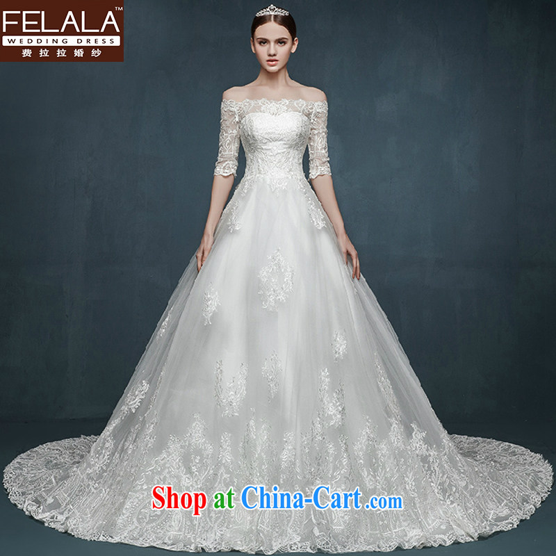 Ferrara 2015 new wedding dresses long sleeved field shoulder collar wedding dresses lace-style long-tail bridal wedding summer with XL (2 feet 2)