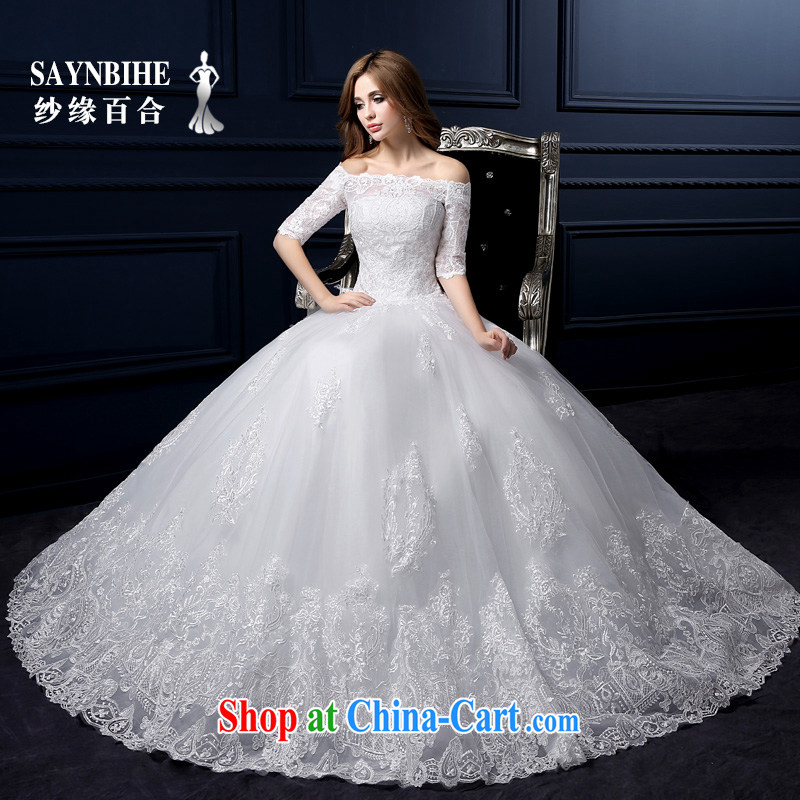 Yarn edge 100, wedding dresses new 2015 summer field shoulder with wedding Korean lace wiped his chest wedding bridal marriage shaggy dress sweet tied with the code-tail white M