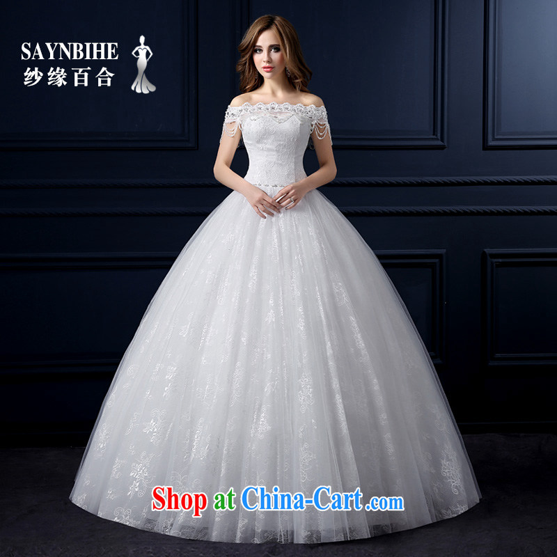 Yarn edge 100, wedding 2015 New Field shoulder wedding Korean lace with wedding bridal sweet wedding dresses larger beauty graphics thin smears chest tail shaggy skirts white tailor advanced customization