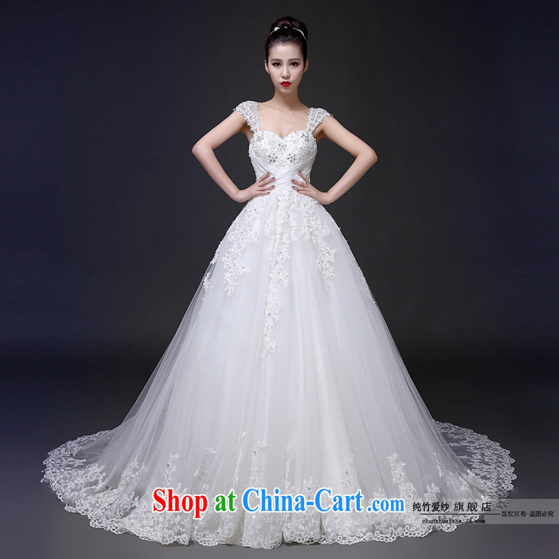 2015 bridal high quality custom field shoulder bare chest straps with spring wedding dresses red stylish long-tail luxury photography bridal dresses, white 100 drag CM