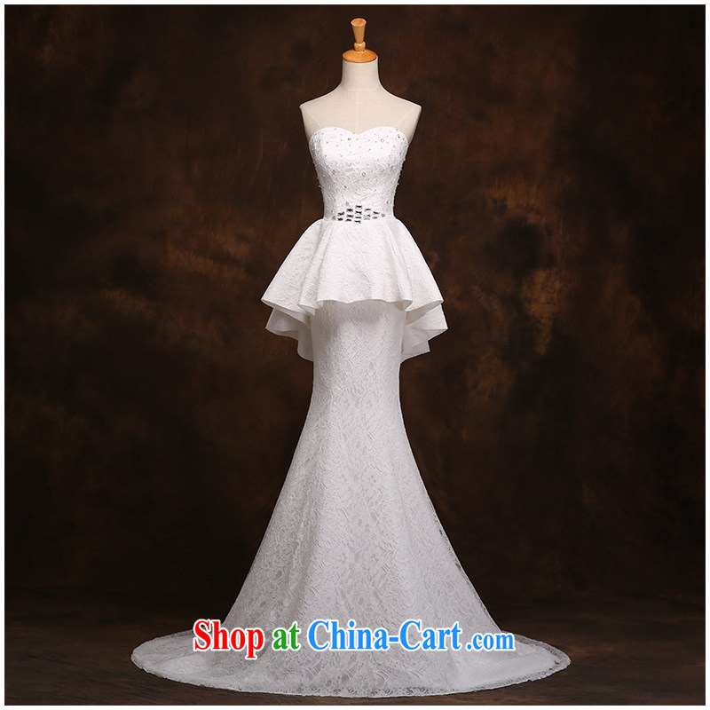 The beautiful yarn bare chest lace small tail end crowsfoot Wedding Fashion beauty tie with drill simple wedding dresses 2015 new listing factory direct white customizable