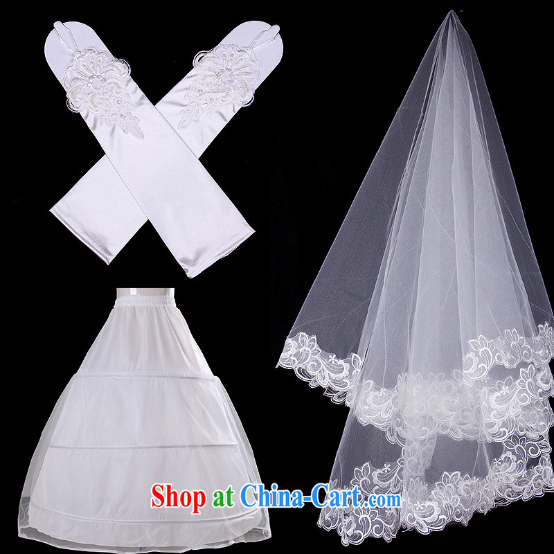 White home about wedding accessories and yarn 3 steel ring the dress stays satin gloves with head yarn 3-Piece Korean accessories white are code