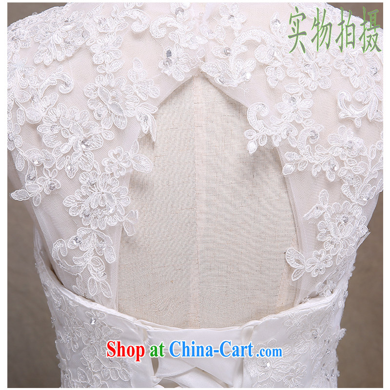 The beautiful yarn 2015 new erase chest atmospheric lace lace-tail wedding stylish removable strap with bridal wedding beauty graphics thin straps plain manually staple Pearl White can be customized, beautiful yarn (nameilisha), online shopping