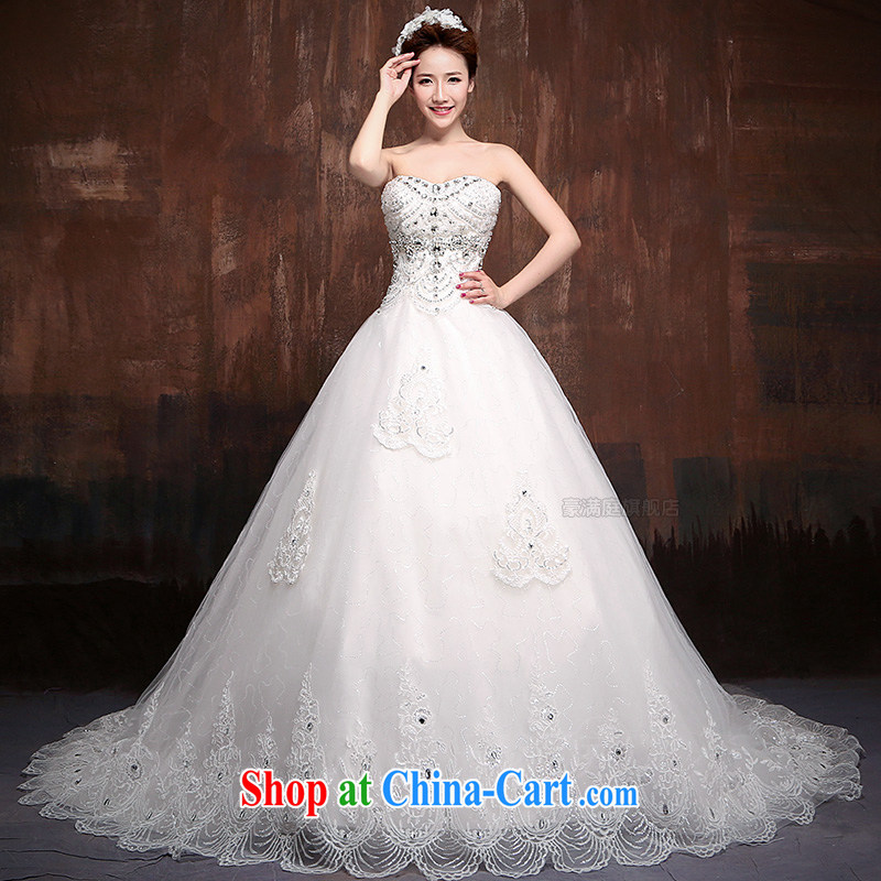2015 New royal lace Korean chest bare the tail Princess bride wedding Royal J XL 0007